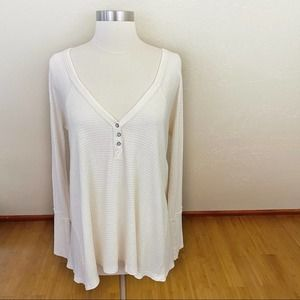 Free People Textured Ivory Thermal Oversized Top